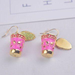 Enamel Glaze Camel Tea Cup Earrings